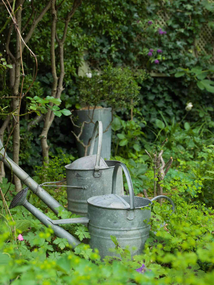 gravel gardening Carolyn Dunster galvanized watering cans by Nicholas Hodgson