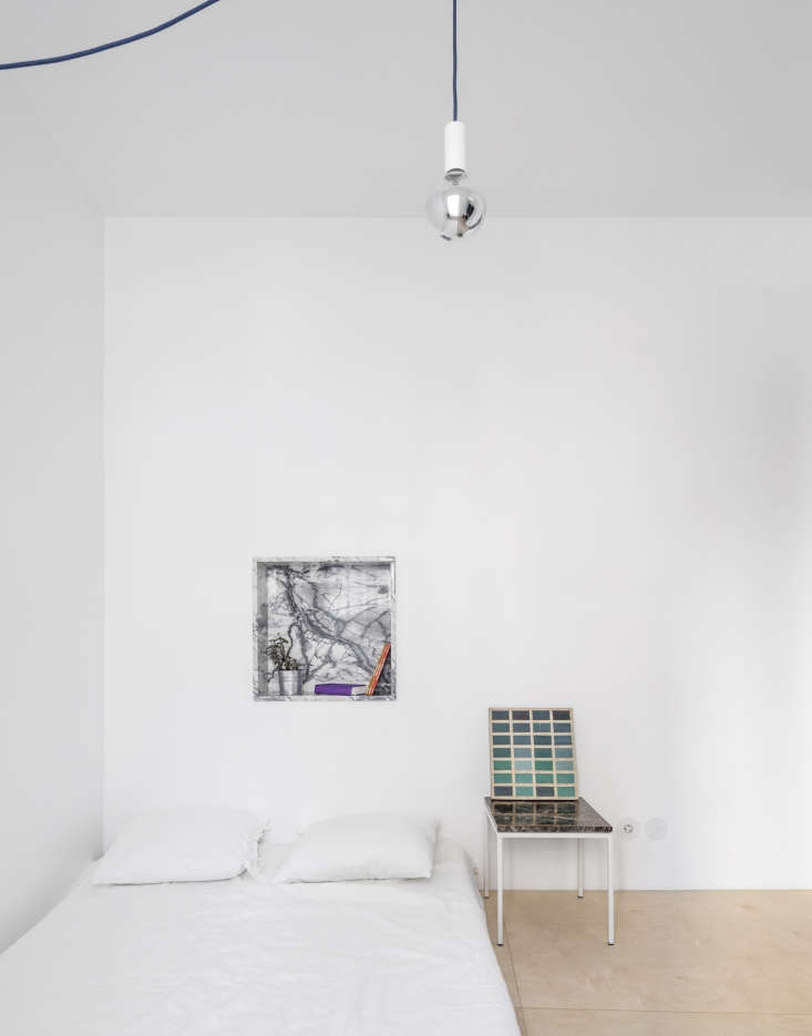 Bedromo in Fala Atelier Lisbon Apartment with Marble Details