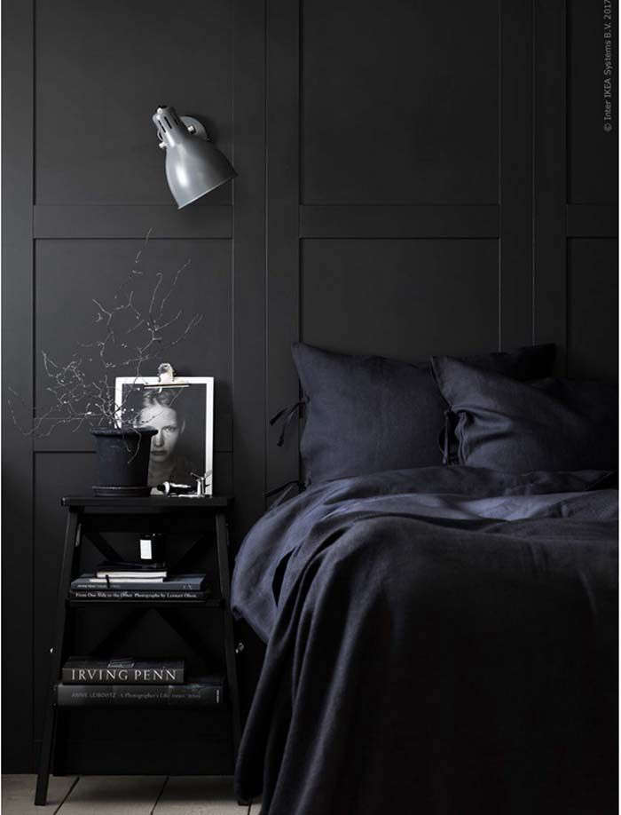 An all-black bedroom, courtesy of Ikea. See Dreaming in Color: 10 Sexy Monochrome Bedrooms.