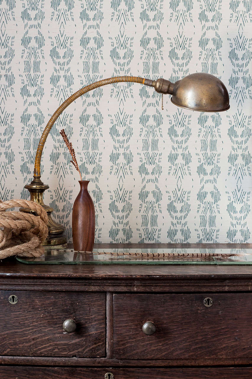 fayce textiles grasscloth dark teal wallpaper
