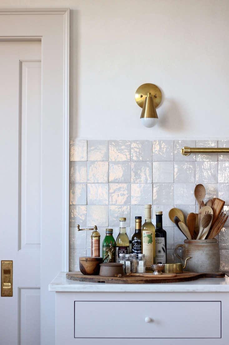 Cle Tile zellige tile backsplash in Jersey Ice Cream Co's kitchen overhaul in Rockport, Maine.