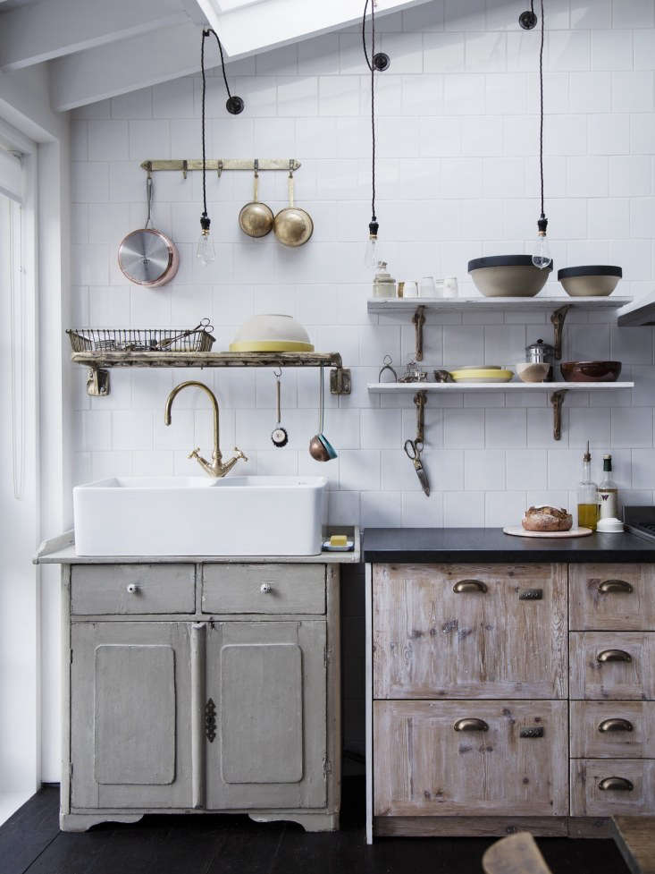 InKitchen of the Week: A Family Gathering Spot in a London Victorian, a double-bowl butler sink fits perfectly atop an antique cupboard. Photograph by Rory Gardiner.