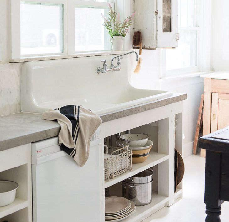 vintage whites blog concrete countertops farmhouse sink cover image cropped