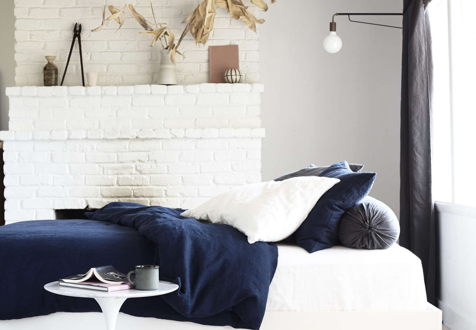 rough linen indigo bedding kendra smoot