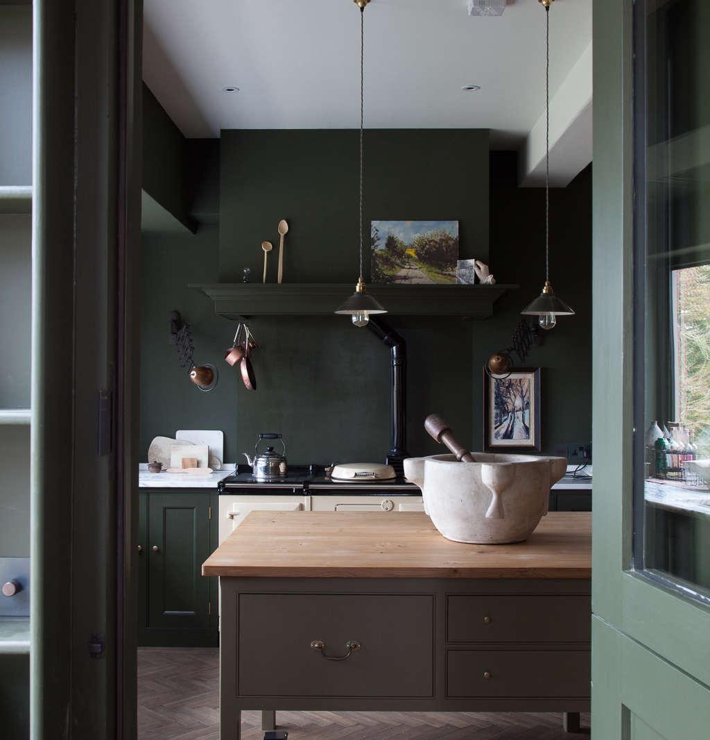 plain english home house shropshire green kitchen view through doorway