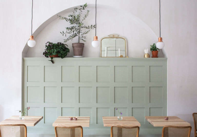 detour dear grain cafe green painted banquette in archway juli daoust mjolk