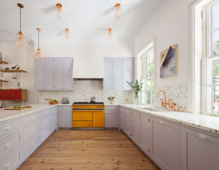 Remodeled Townhouse New York Purple and Yellow Kitchen