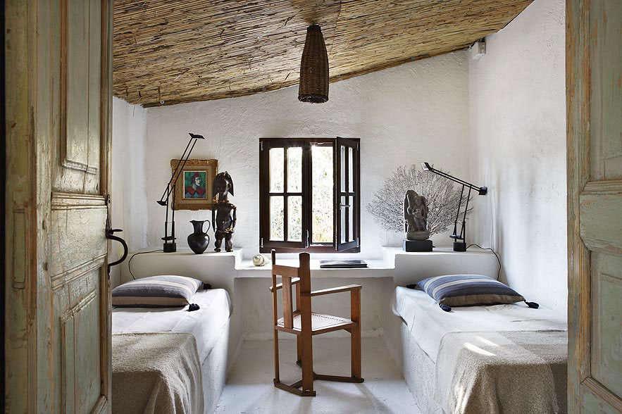 serge castella interiors mediterranean guest house twin bedroom