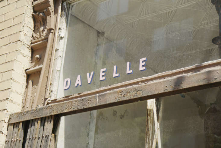 The only indication of what's inside: small, pale pink lettering on the front window. At Davelle, pink—on the menus and in the logo—feels fresh, not overdone.