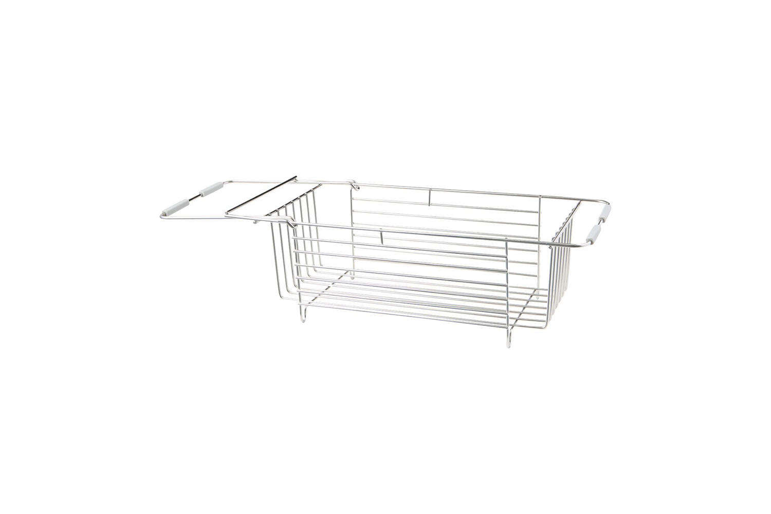 The Muji Stainless Steel Basket Sliding Type has an extension that fits to the sink; $38 at Muji.