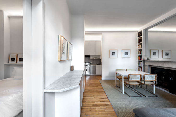 Living Area, Kitchen, Dining Room in West Village Apartment by Studio Ames, Photograph by Alan Tansey