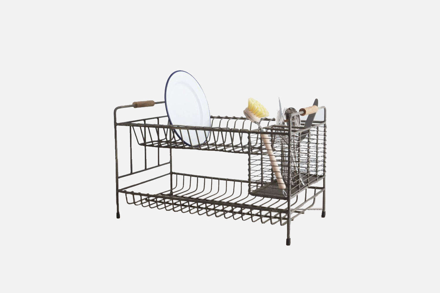 The Vintage Draining Rack makes use of vertical space with two levels of stacking and a section for cutlery; £45 at Garden Trading.