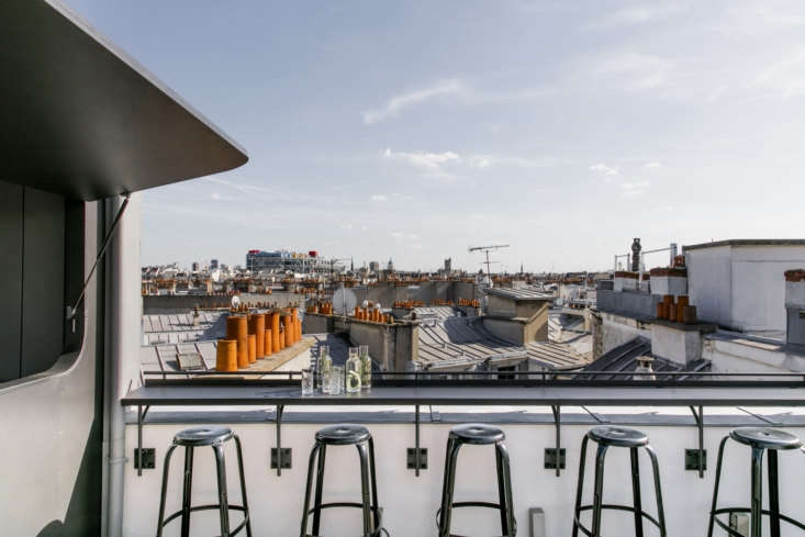 Paris rooftops, as seen inArts et Métiers: An Industrial-Cool Hotel in Paris, Redone in Terrazzo and Marble. Headed to the City of Light this summer? Check out Alexa&#8