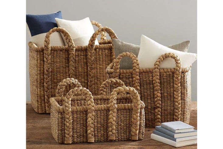 pottery barn&#8\2\17;s beachcomber rectangular handled baskets range from \ 18