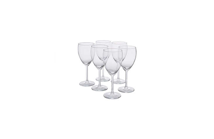 Ikea's Svalka White Wine Glass is a quick fix for an impromptu party, priced at $4.99 for a pack of six. (Or, see 10 Easy Pieces: Space-Saving Stackable Drinking Glasses.)