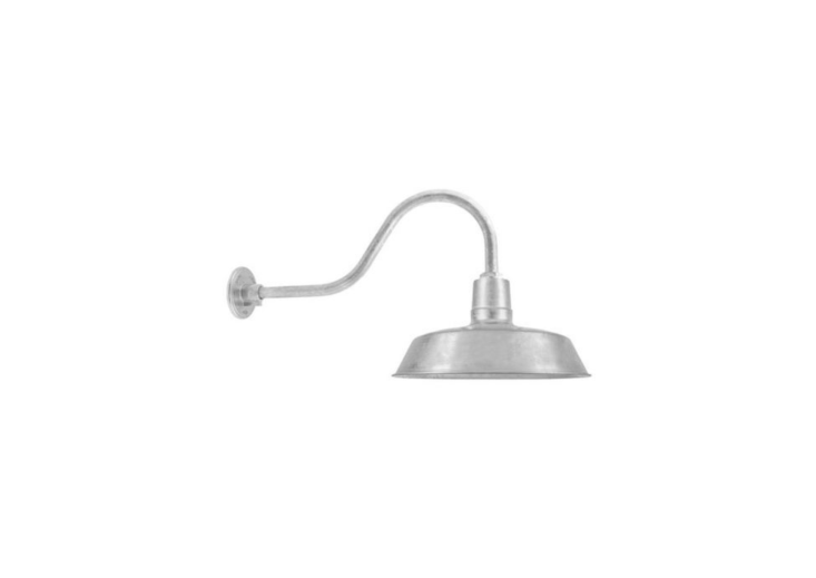 With a galvanized finish, The Original Warehouse Gooseneck Light can be customized with five sizes of shades, a straight or gooseneck arm (varying lengths are available ) and a wire cage. Prices start at $0 at Barn Light Electric.