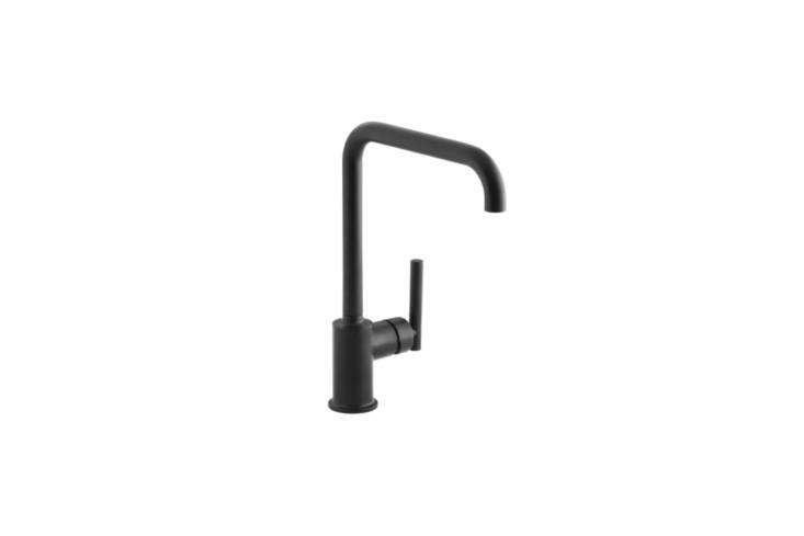 The Kohler Purist (K-7507-BL) Single Handle Swing Spout Kitchen Faucet comes in Matte Black and is $511.24 at Faucet Direct.