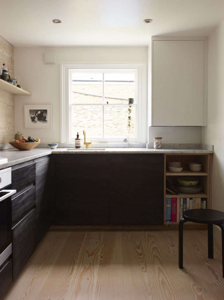 UK-based Naked Doors sells slab and Shaker cabinet doors and drawer fronts in a variety of painted colors and stains. This kitchen is from the home of former fashion buyer Lisa Jones; see more images in A Star Is Born: A Rehabbed London Maisonette from a Newly Minted Designer, High/Low Secrets Included.