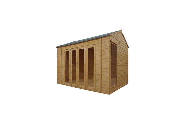 A similar -by-8-foot peaked from Wooden Traditional Garden Summerhouse with shiplap siding has double doors with four window panels; £949.99 from Amazon UK.