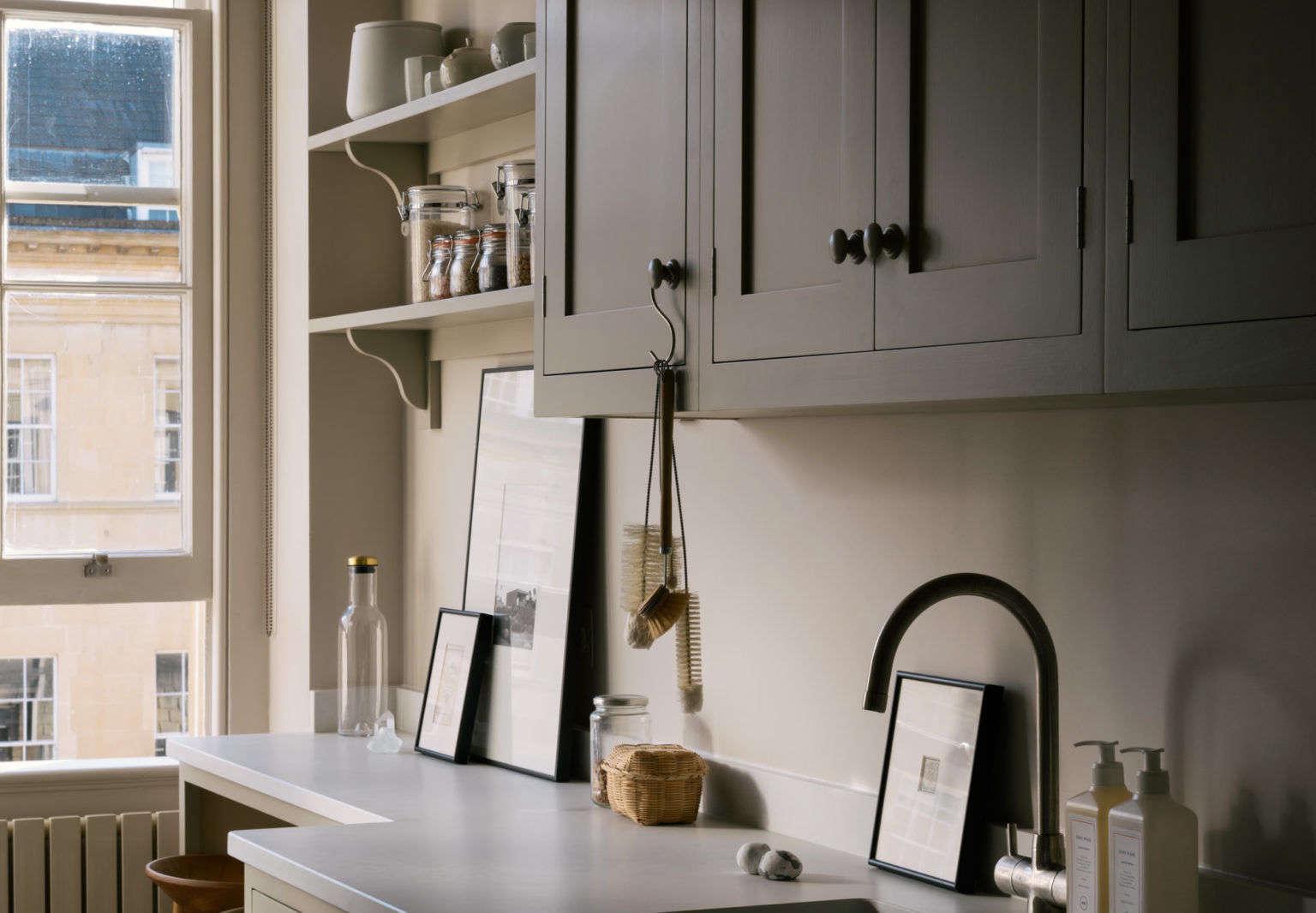 Devol Galley Kitchen in Bath, England with S Hook