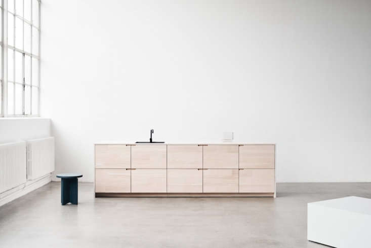 Danish company Reform offers architect-designed cabinet fronts for Ikea kitchens. They offer their own design, Basis, inspired by 1960s architecture, along with designs by firms Bjark Ingels Group, Henning Larsen Architecture, and Norm Architects (shown). Their latest offering is the UP kitchen (pictured), a collaboration between the architects at Lendager Group and Dinesen, The cabinet fronts and countertops, inspired by the classic craftsman kitchen, are made using cuts from solid, reclaimed Douglas fir left over from Dinesen projects. For more, see our post High-Brow Hack: Norm Architects Reinvent the Ikea Kitchen and From Reform: A New Line of Ikea Cabinet Fronts Made with Dinesen Wood.
