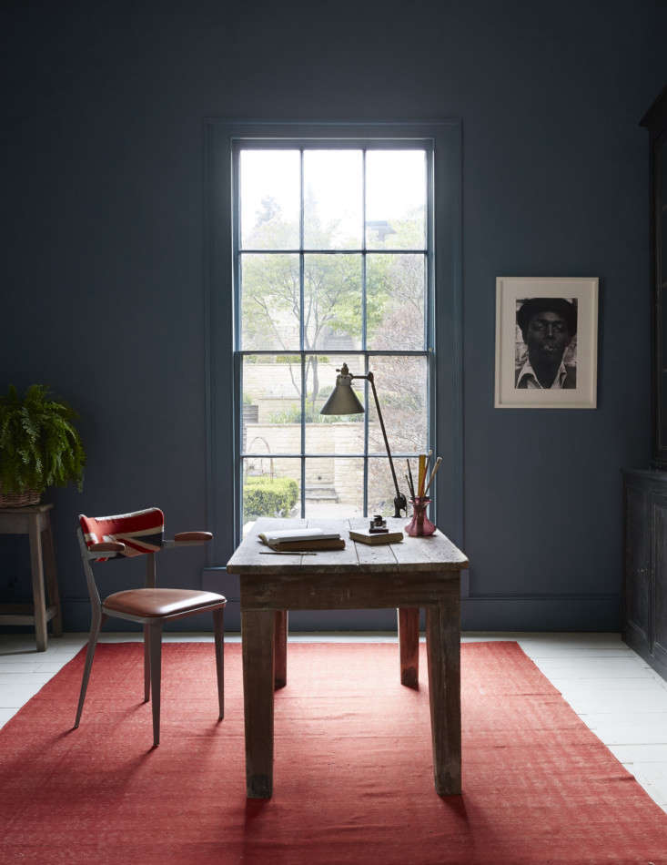 in music producer nick gilpin&#8\2\17;s home office, a wall painted farrow  17
