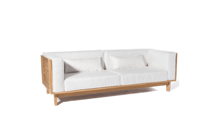 """A Skanor 3-Seater Sofa by Scandinavian designer Skargaarden """"has been designed with a relatively tall back rest to maximize comfort. The cushions are filled with foam encased in polyester and covered with outdoor Sunbrella fabric"""" It measures 91 inches wide and 29 inches high; $7,200 at Curran Home."""