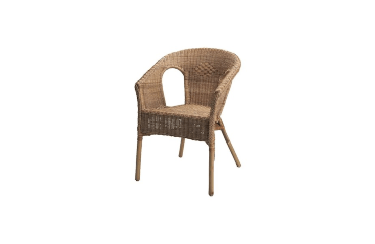 A stackable, woven Agen Armchair with a bamboo frame is $79 from Ikea.