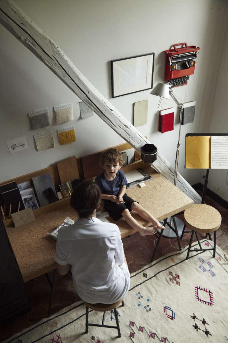 Designer Gesa Hansen home work space, Courances, France.