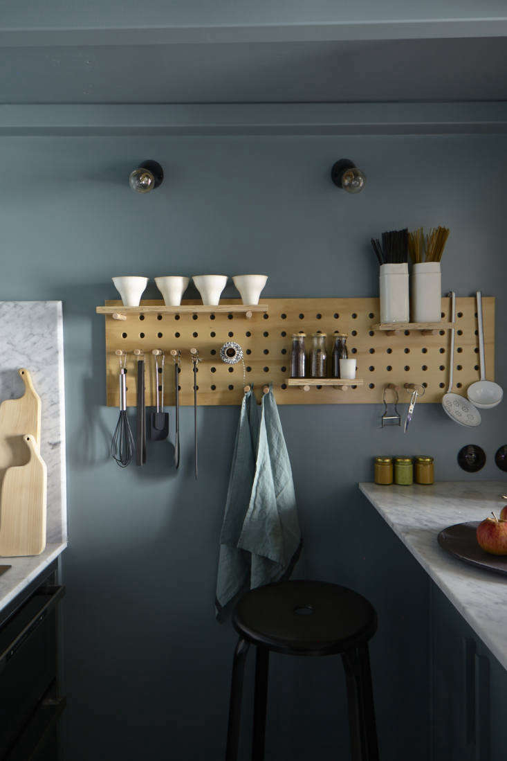 Kitchen Pegboard in Tiny Paris Apartment by Marianne Evennou