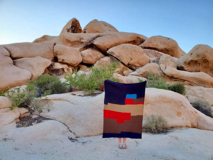 All Roads, a metal and fiber arts collective in the Mojave Desert, makes hand-woven throws from recycled cotton. Both the Agua Fria Blanket (pictured here) and the Desert Sun Blanket (featured at top) are $198 each.