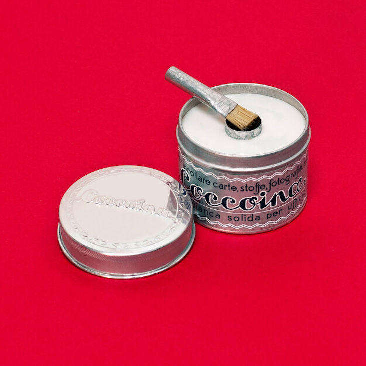 Ideal for use on paper, clothing, photographs, and labels, the non-toxic Coccoina Almond Glue ($7) comes in an aluminum tin, unchanged since the 1920s. In the middle is a cylinder for holding a brush.