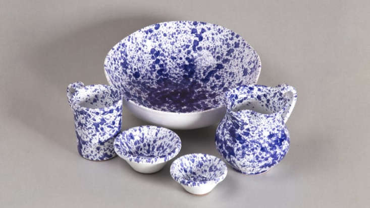 "Sicilian Ceramics with a ""splatter"" pattern were thought to repel insects. Available in blue and green;  from $15."