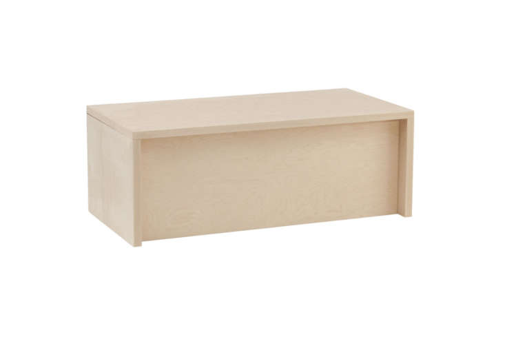 The Thompson Storage Chest comes in Maple, Cherry, Walnut, and Painted Eco MDF. It's designed to be a chest but can be used as a wide bench just the same. It's $419 fromUrban Green Furniture.