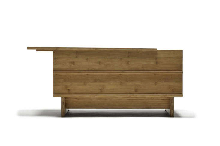 From We Do Wood, the Correlations Bench is designed to be used as a bench or as a side table. The removable top and the rest of the bench are made of bamboo; $562 at Connox.