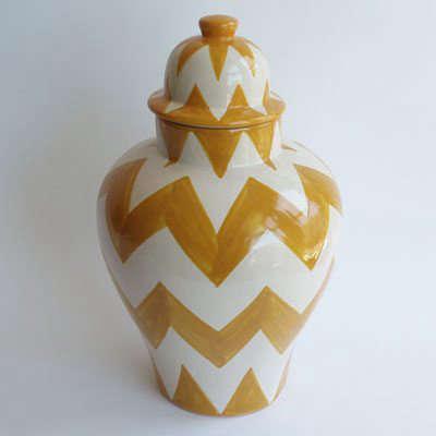 yellow chevron zigzag tibor ginger jar talavera vazquez