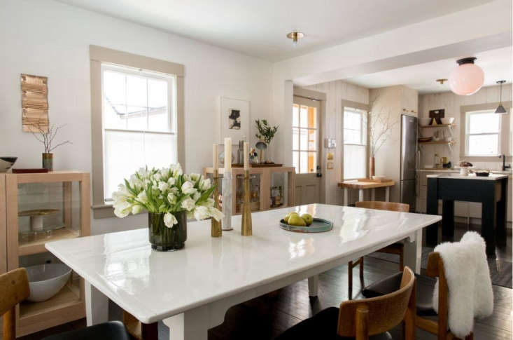Dumais dining room and kitchen, Litchfield, CT. Allegra Anderson photo.