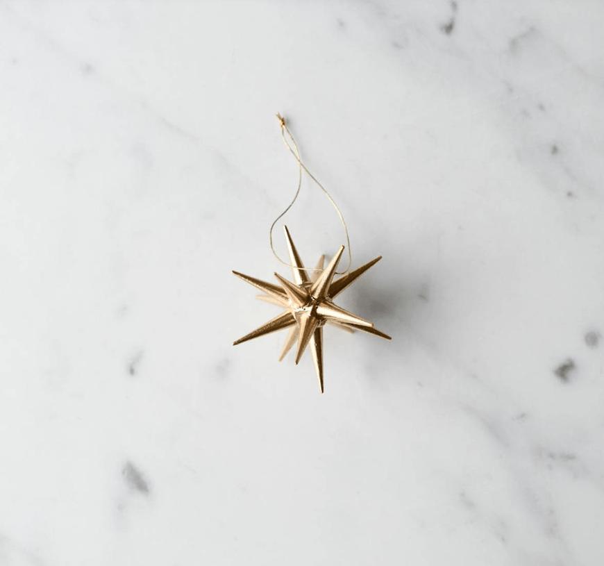 wooden german gold star ornament