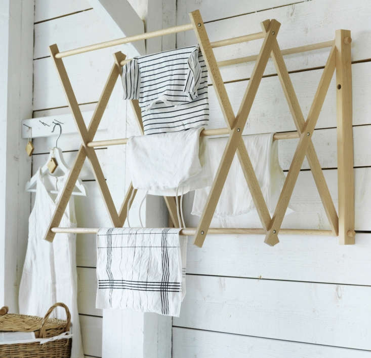 The Wall Drying Rack is $34.99 and the Laundry Basket is $39.99. Hanging on the bottom rung is a Cleaning Cloth from the collection ($5.99 for 2).