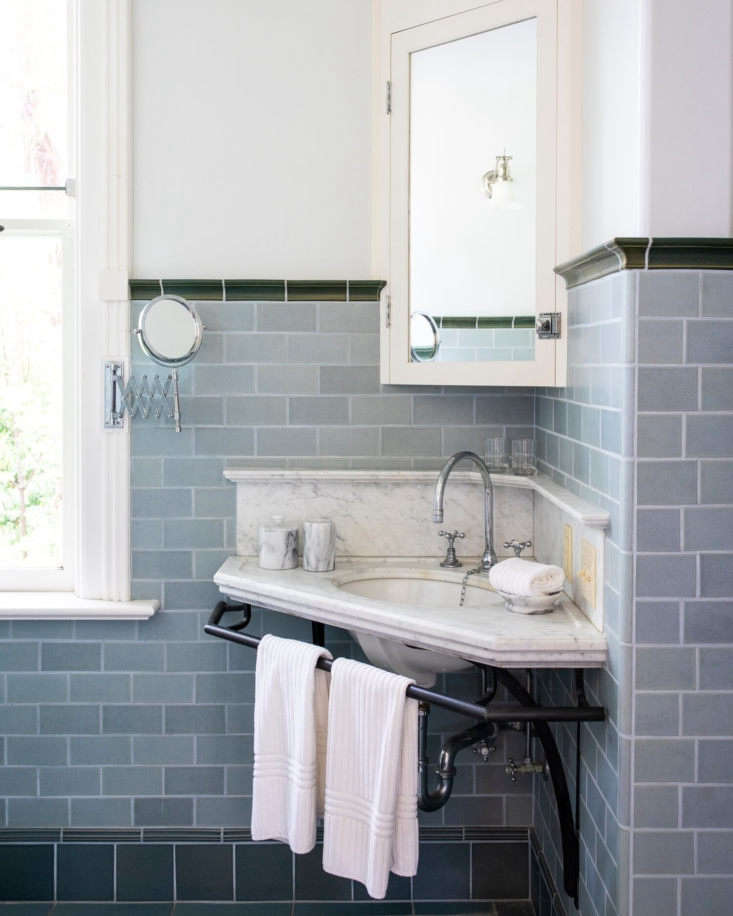 a corner sink in the main suite&#8\2\17;s bathroom. 14