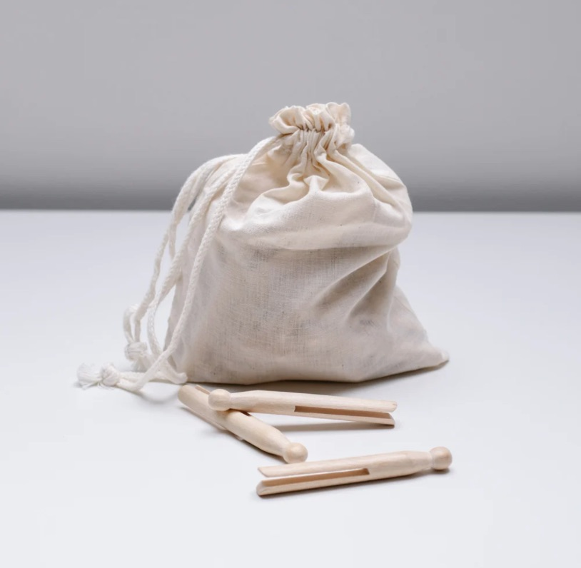 Old-Fashioned Wood Clothespins from Helen Milan; a bag of 50 for $18.