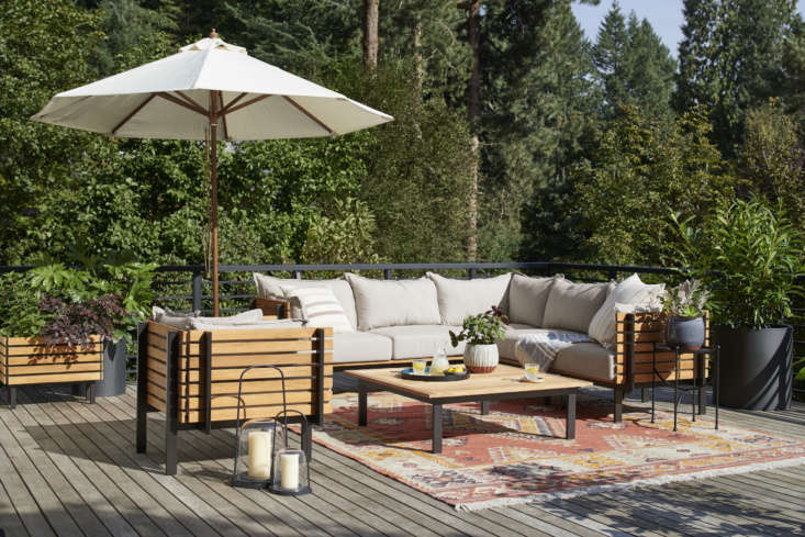 Outdoor furniture from the Jasper collection—like the Jasper Three-Piece Teak Sectional Sofa ($4,997) and Jasper Teak Arm Chair ($loading=