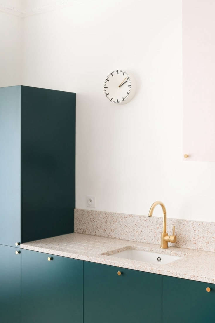 Colorful kitchen remodel, classic Paris apartment modernized by Heju Studio architecture.