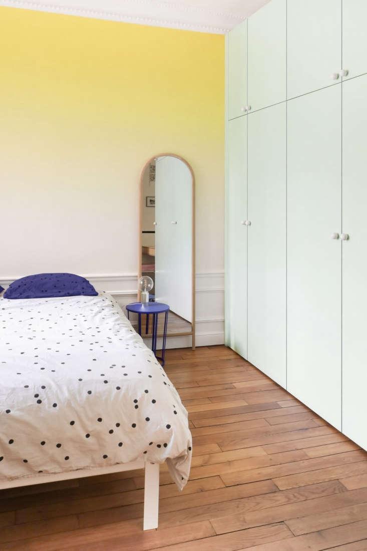 Ombre bedroom, Paris apartment modernized by Heju Studio architecture.