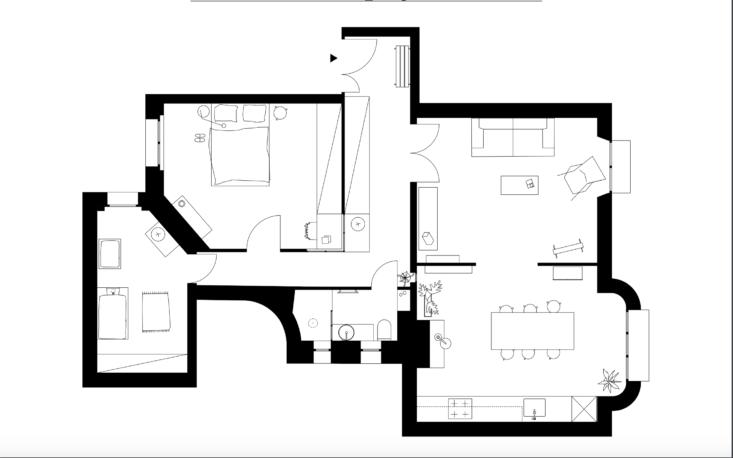 Heju Studio, Paris, apartment remodel floor plan.
