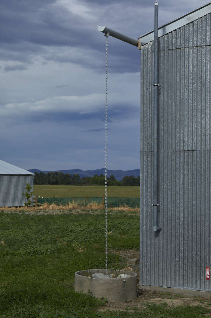 Rain chain, converted shearing shed, architect Ben Daly, Palace Electric, Canterbury, NZ. , Canterbury, NZ. Samuel Hartnett photo.