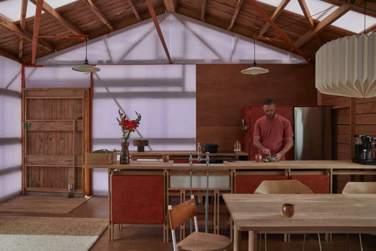 Open kitchen in architect Ben Daly's converted shearing shed, Canterbury, NZ. Samuel Hartnett photo.