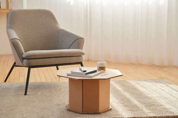 DIY cardboard coffee table from Samsung eco packaging: design via Dezeen's Out of the Box competition.