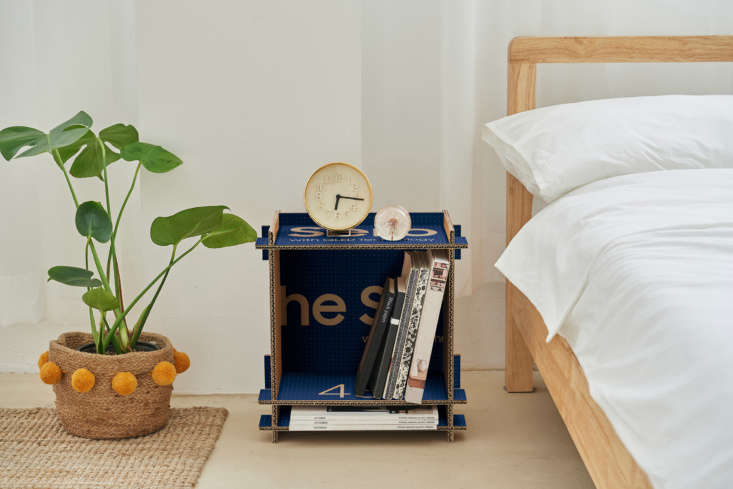 DIY cardboard bedside table from Samsung eco packaging: design via Dezeen's Out of the Box competition.