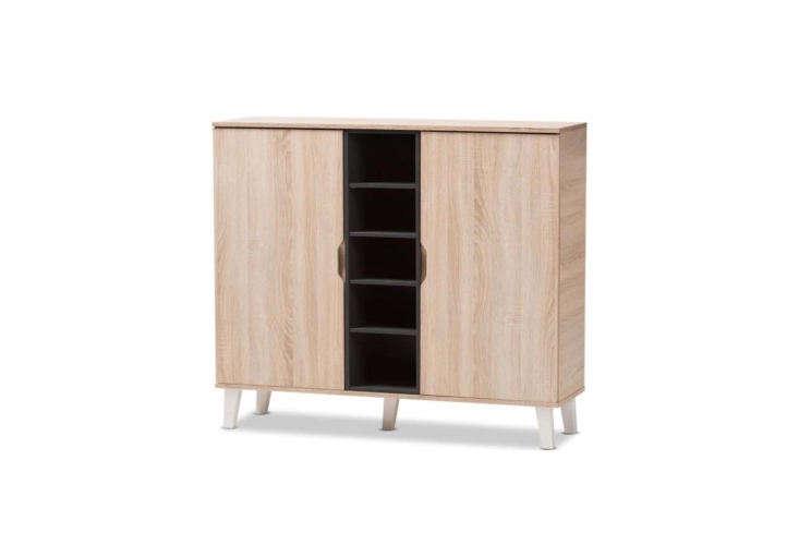 Adelina Oak Grey Mid-Century Modern Shoe Cabinet
